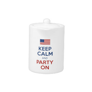 Keep Calm And Party On U.S. Flag 4th Of July Teapot
