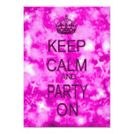 Keep Calm and Party pink starry party invitation 13 Cm X 18 Cm Invitation Card