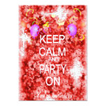 Keep Calm and Party red invitation 13 Cm X 18 Cm Invitation Card