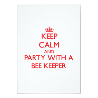 """Keep Calm and Party With a Bee Keeper 5"""" X 7"""" Invitation Card"""