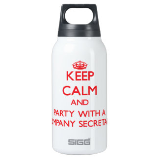 Keep Calm and Party With a Company Secretary 10 Oz Insulated SIGG Thermos Water Bottle
