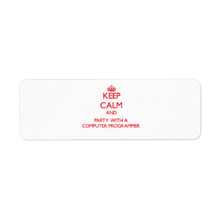 Keep Calm and Party With a Computer Programmer Labels