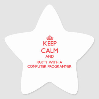 Keep Calm and Party With a Computer Programmer Star Sticker