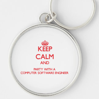 Keep Calm and Party With a Computer Software Engin Keychains