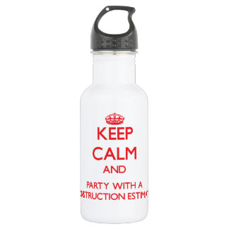Keep Calm and Party With a Construction Estimator 18oz Water Bottle