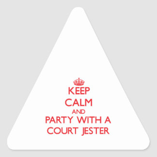 Keep Calm and Party With a Court Jester Triangle Sticker