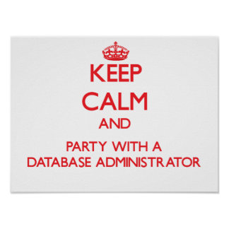 Keep Calm and Party With a Database Administrator Posters