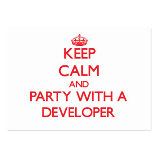 Keep Calm and Party With a Developer Large Business Cards (Pack Of 100)