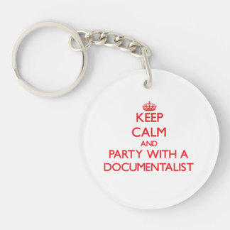 Keep Calm and Party With a Documentalist Double-Sided Round Acrylic Keychain