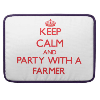 Keep Calm and Party With a Farmer Sleeves For MacBook Pro
