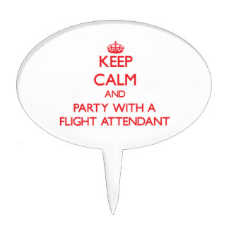 Keep Calm and Party With a Flight Attendant Cake Pick