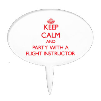 Keep Calm and Party With a Flight Instructor Cake Topper
