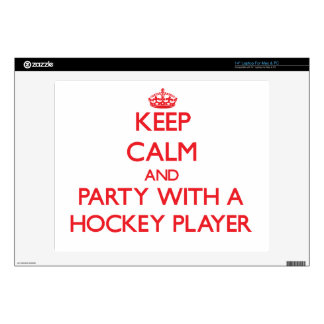 "Keep Calm and Party With a Hockey Player 14"" Laptop Skin"