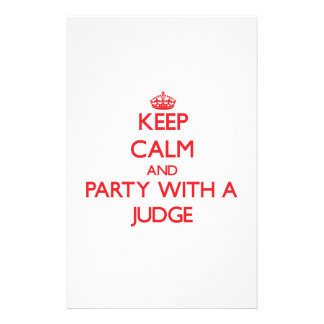 Keep Calm and Party With a Judge Custom Stationery