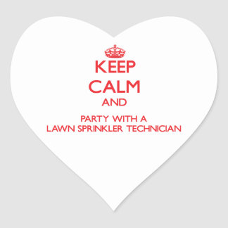 Keep Calm and Party With a Lawn Sprinkler Technici Heart Sticker