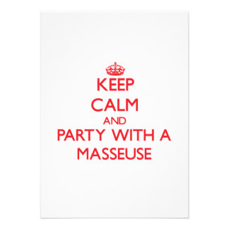 Keep Calm and Party With a Masseuse Custom Invites