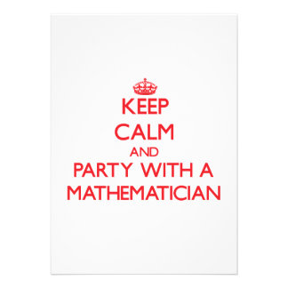 Keep Calm and Party With a Mathematician Invite