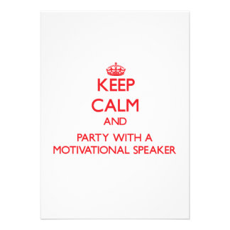 Keep Calm and Party With a Motivational Speaker Personalized Invites