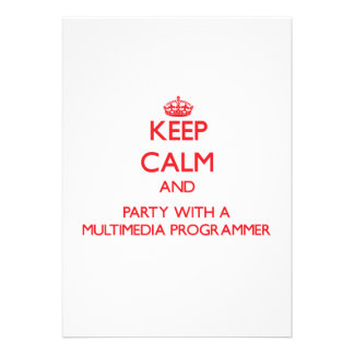 Keep Calm and Party With a Multimedia Programmer Invitations