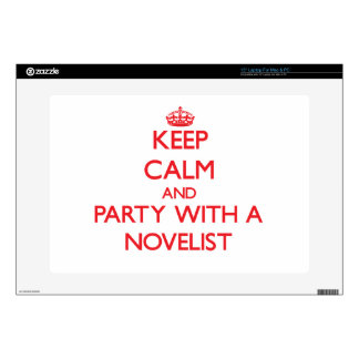 """Keep Calm and Party With a Novelist 15"""" Laptop Decals"""