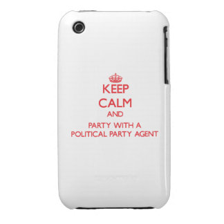 Keep Calm and Party With a Political Party Agent iPhone 3 Cases