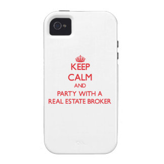 Keep Calm and Party With a Real Estate Broker Case-Mate iPhone 4 Cover