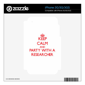 Keep Calm and Party With a Researcher Skins For The iPhone 3GS
