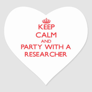 Keep Calm and Party With a Researcher Heart Stickers