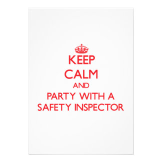 Keep Calm and Party With a Safety Inspector Personalized Invitation
