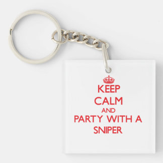 Keep Calm and Party With a Sniper Double-Sided Square Acrylic Keychain