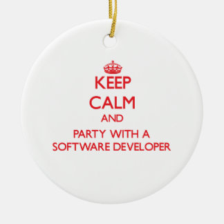 Keep Calm and Party With a Software Developer Christmas Tree Ornament