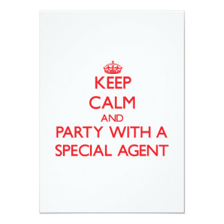 Keep Calm and Party With a Special Agent 5x7 Paper Invitation Card
