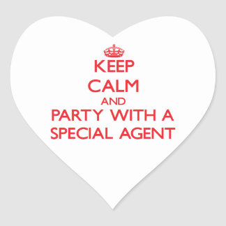 Keep Calm and Party With a Special Agent Heart Sticker