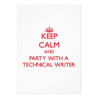 Keep Calm and Party With a Technical Writer Invite