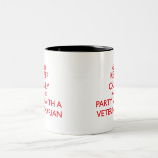 Keep Calm and Party With a Veterinarian Two-Tone Coffee Mug