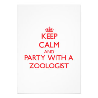 Keep Calm and Party With a Zoologist Personalized Invites