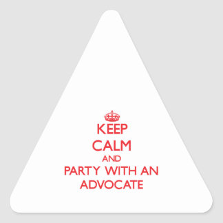 Keep Calm and Party With an Advocate Triangle Stickers