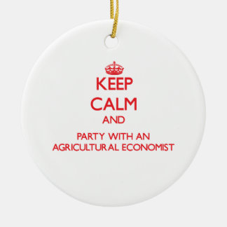 Keep Calm and Party With an Agricultural Economist Double-Sided Ceramic Round Christmas Ornament