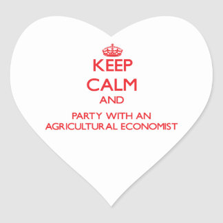 Keep Calm and Party With an Agricultural Economist Heart Stickers