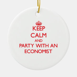 Keep Calm and Party With an Economist Double-Sided Ceramic Round Christmas Ornament