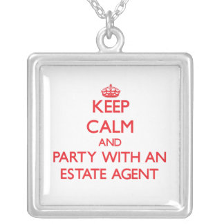 Keep Calm and Party With an Estate Agent Personalized Necklace