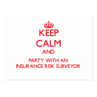 Keep Calm and Party With an Insurance Risk Surveyo Business Card Templates