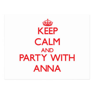 Keep Calm and Party with Anna Postcard