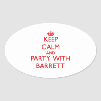 Keep calm and Party with Barrett Oval Sticker
