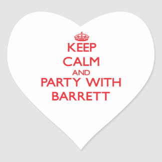 Keep calm and Party with Barrett Heart Sticker