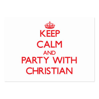 Keep calm and Party with Christian Large Business Cards (Pack Of 100)