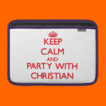 Keep calm and Party with Christian MacBook Sleeve