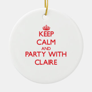 Keep Calm and Party with Claire Double-Sided Ceramic Round Christmas Ornament
