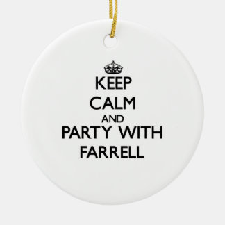 Keep calm and Party with Farrell Double-Sided Ceramic Round Christmas Ornament