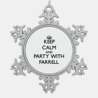 Keep calm and Party with Farrell Snowflake Pewter Christmas Ornament